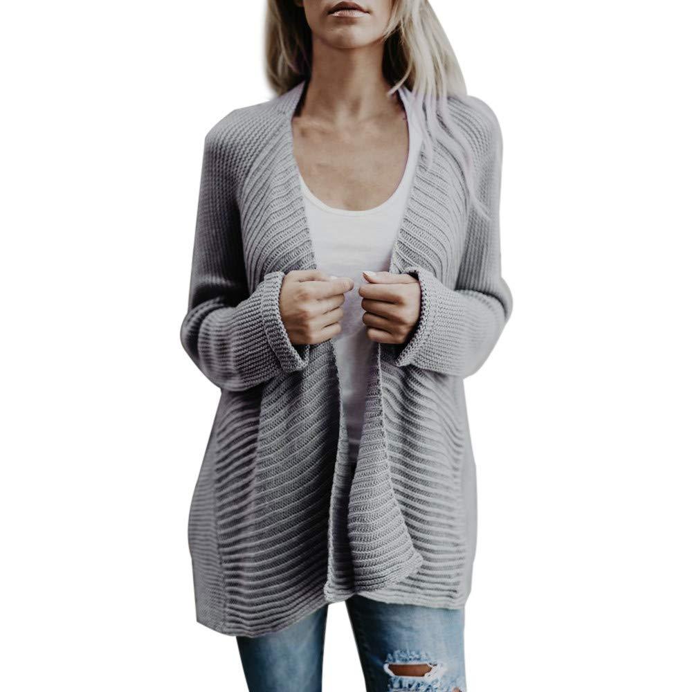 YANG-YI HOT, Womens Winter Open Front Solid Cardigan Long Sleeve Sweater Coat