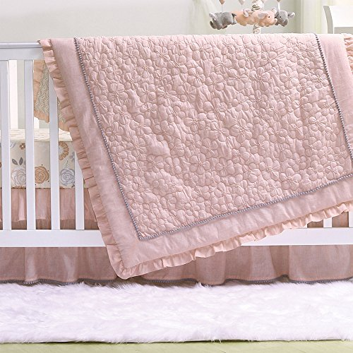 Floral Whisper Coral Pink Baby Girl 3 Piece Crib Bedding Set by The Peanut - Floral Starring