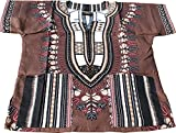Raan Pah Muang RaanPahMuang Unisex Childrens African Dashiki Throw Over Bold Print Boubou Shirt, 6-8 Years Tall, Taupe Brown