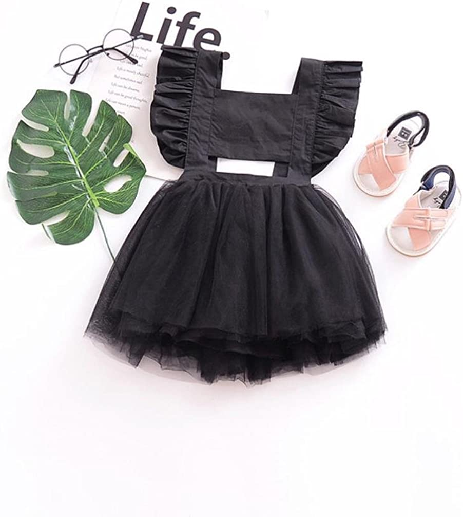 KONFA Teen Baby Girls Strap Backless Ruched Dress,Suitable For 1-4 Years Old,Little Princess Retro Skirt