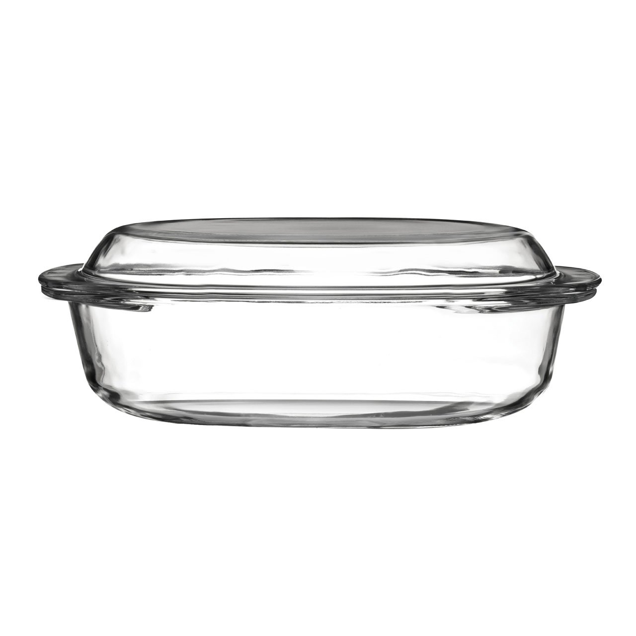 Clear Glass Oval Casserole Dish with Lid 1.5L Capacity ARTISANA