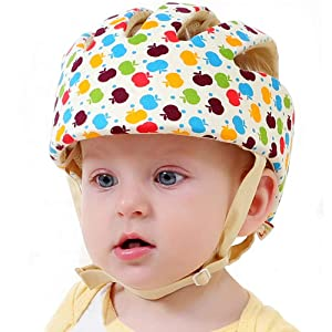 Infant Baby Safety Helmet, IULONEE Toddler Adjustable Protective Cap, Children Safety Headguard Harnesses Protection Hat for Running Walking Crawling Safety Helmet for Kids (Colorful)