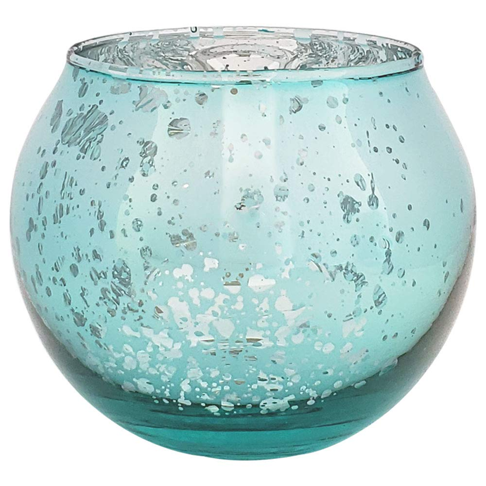 Just Artifacts Round Mercury Glass Votive Candle Holder 2-Inch (Speckled Aqua, Set of 25) - Mercury Glass Votive Candle Holders for Weddings and Home Décor
