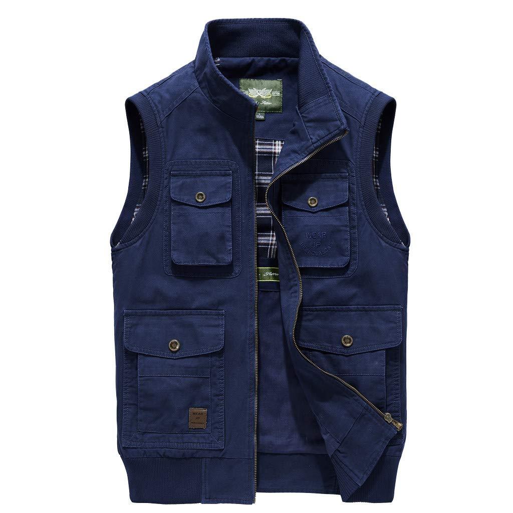 Cowboy Denim Vest Jacket Fashion Men's Casual in Shoulder Blouse Navy by TOPUNDER