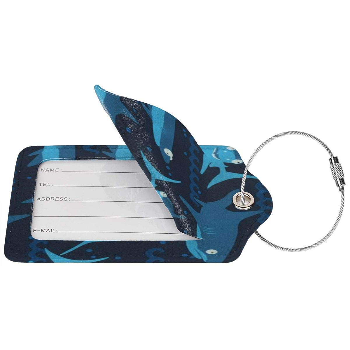 Tropical Aloha Hawaiian Luggage Tags With Full Back Privacy Cover W//Steel Loops