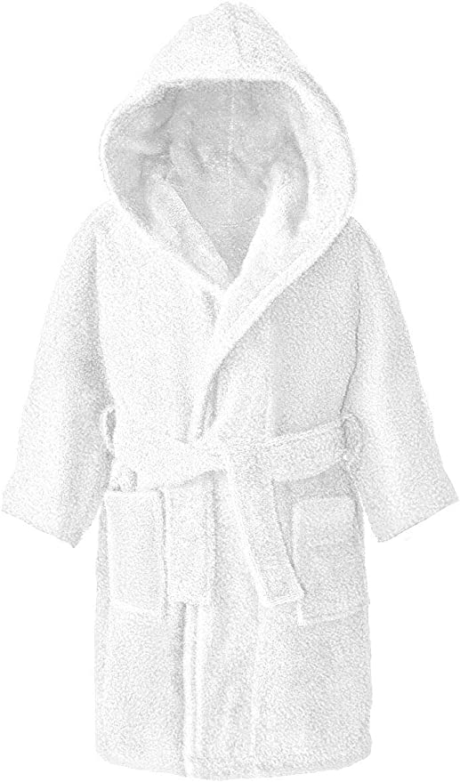 Albornoz con capucha para niños y niñas, 100% algodón, 4 – 12 años, 100% algodón, Blanco, 12-14 años: Amazon.es: Hogar