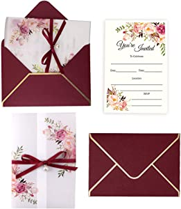 Doris Home 25PCS 5 x7.3 inch Invitations Cards with Envelopes and Printed Inner Sheets for Bridal Shower Invite, Baby Shower Invitations, Wedding, Rehearsal (Burgundy)