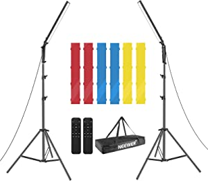 Neewer 2 Packs 210 LED Video Light Photography LED Lighting Kit, Dimmable 3200-5600K Light with Stand, Infrared Remote Control, Color Filters(Red/Yellow/Blue) and Carry Bag (Battery Not Include)