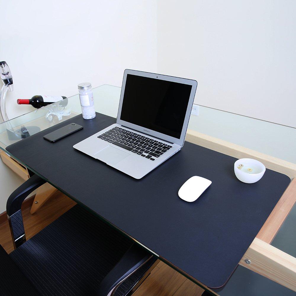 Ele Eleoption PU esteso mouse pad, multifunzionale impermeabile da ufficio scrittura Mat, doppio lato ultra-sottile grande Pad per ufficio casa 80x40cm Black/ Red