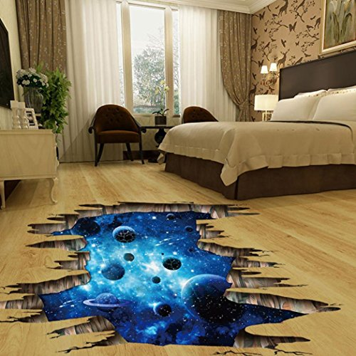 Koolee 3D Starry Sky Wall Sticker 3D Bridge Floor/Wall Decal White Clouds Stick Wall Removable Sticker Vinyl Art Living Room Decors ()