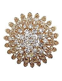 Zakia Big Crystal Flower Bridal Brooch Pin Brooches