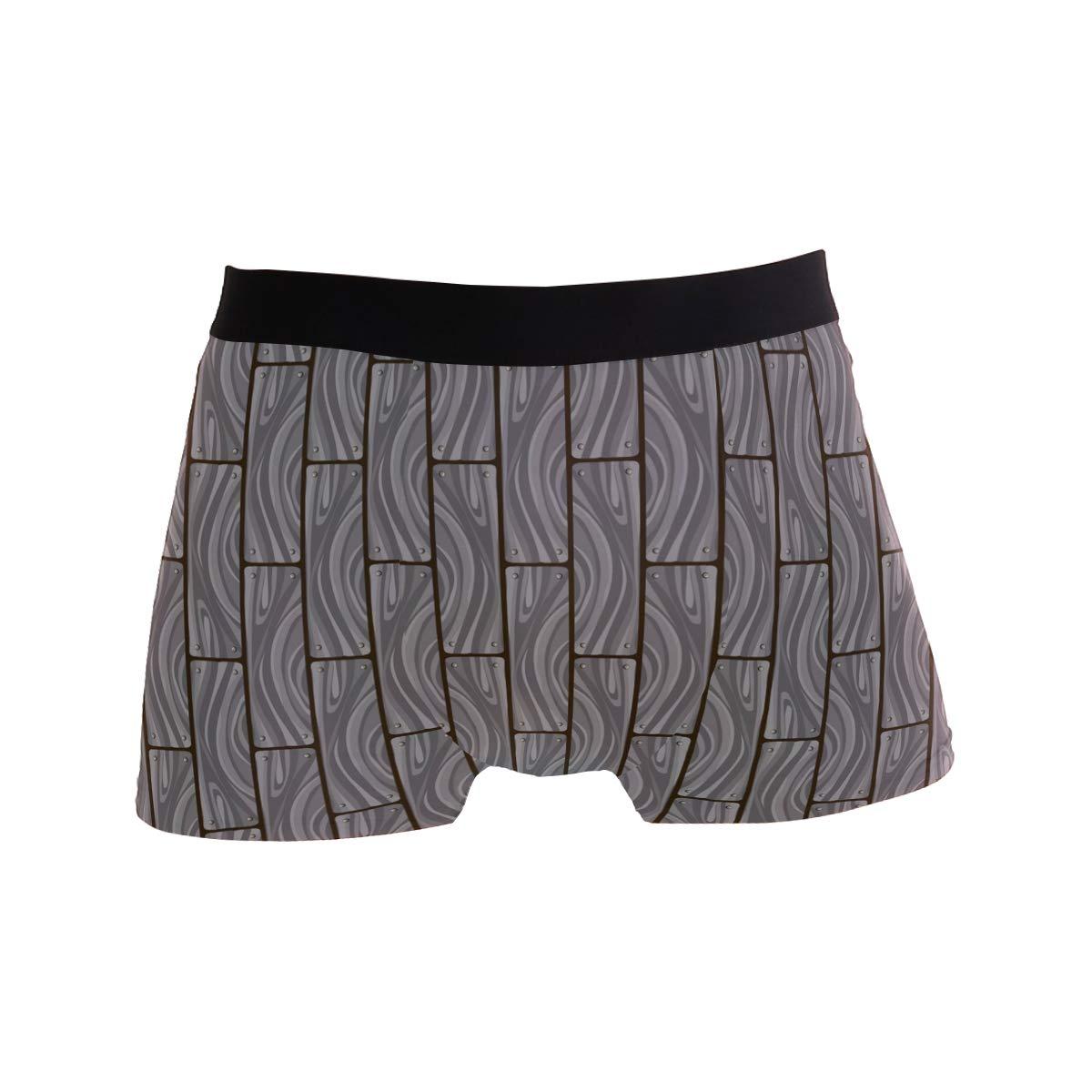 Jereee Abstract Gray Hardwood Planks Pattern Mens Underwear Soft Polyester Boxer Brief for Men Adult Teen Children Kids S