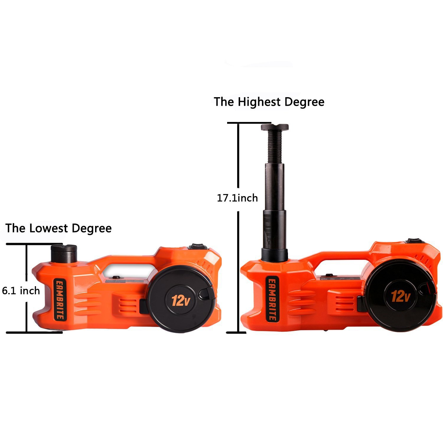 12V DC 1 Ton Electric Hydraulic Floor Jack Set with Impact Wrench For Car Use (6.1-17.1 inch, Orange) by EAMBRTE (Image #6)