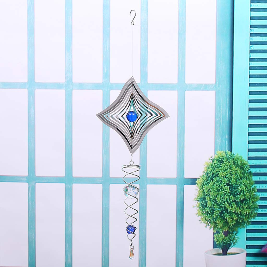 Patio and Yard Glass Ball in the middle SM SunniMix 3D Metal Hanging Wind Spinner//Winds Chime Garden Style/_1 Great Decoration of Home