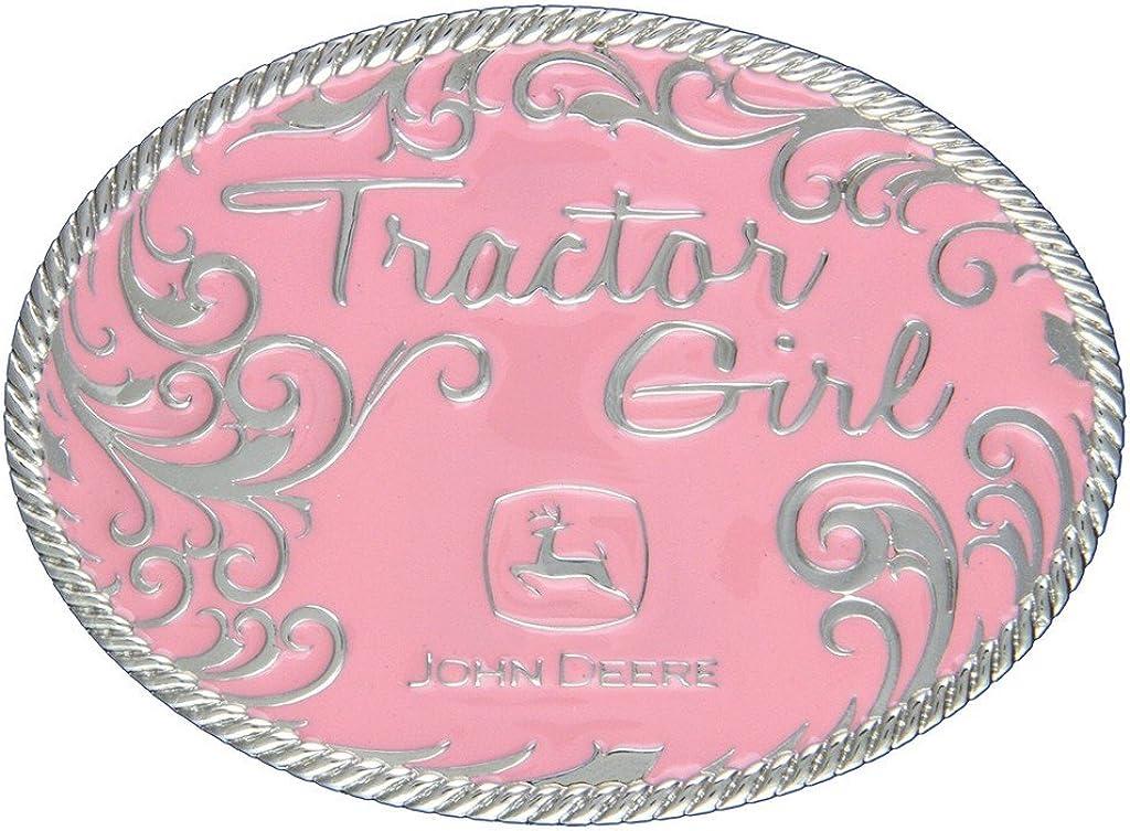 4 X 3 Pink Montana Silversmiths John Deere Tractor Girl In Pink Attitude Buckle