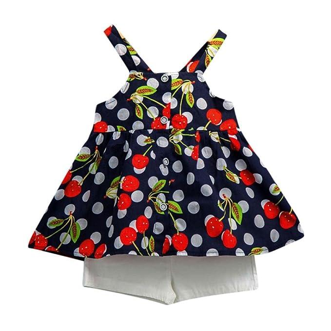 Vestidos niñas, Switchali Niños Bebé Niña Verano moda chaleco sin Mangas algodón floral camisa +