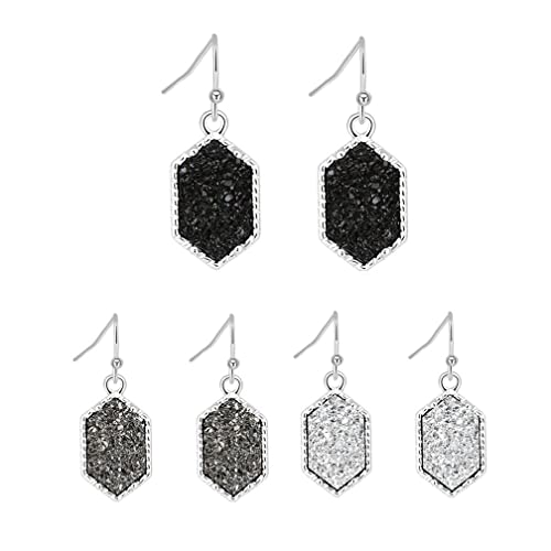 dbc4a6809 Colorful Faux Druzy Drop Earrings Hexagon Dangle Drusy Stone Jewelry Girls  Silver Plated Anniversary Gift (