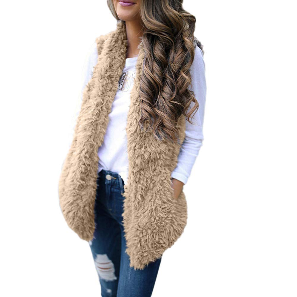 YUEZIHUAHUA Women Coats Casual Ladies Sexy Body Coat Faux Fur Solid Sleeveless Warm Vest Waistcoat Short Jacket (XL, Khaki)