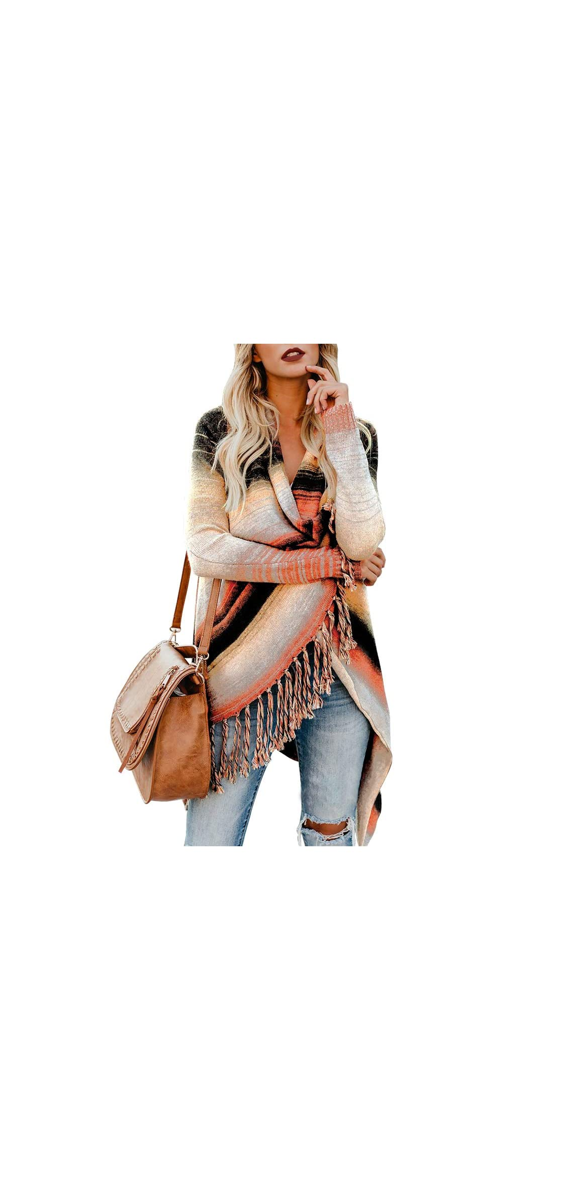 Womens Color Block Cardigan Open Front Knitted Sweater