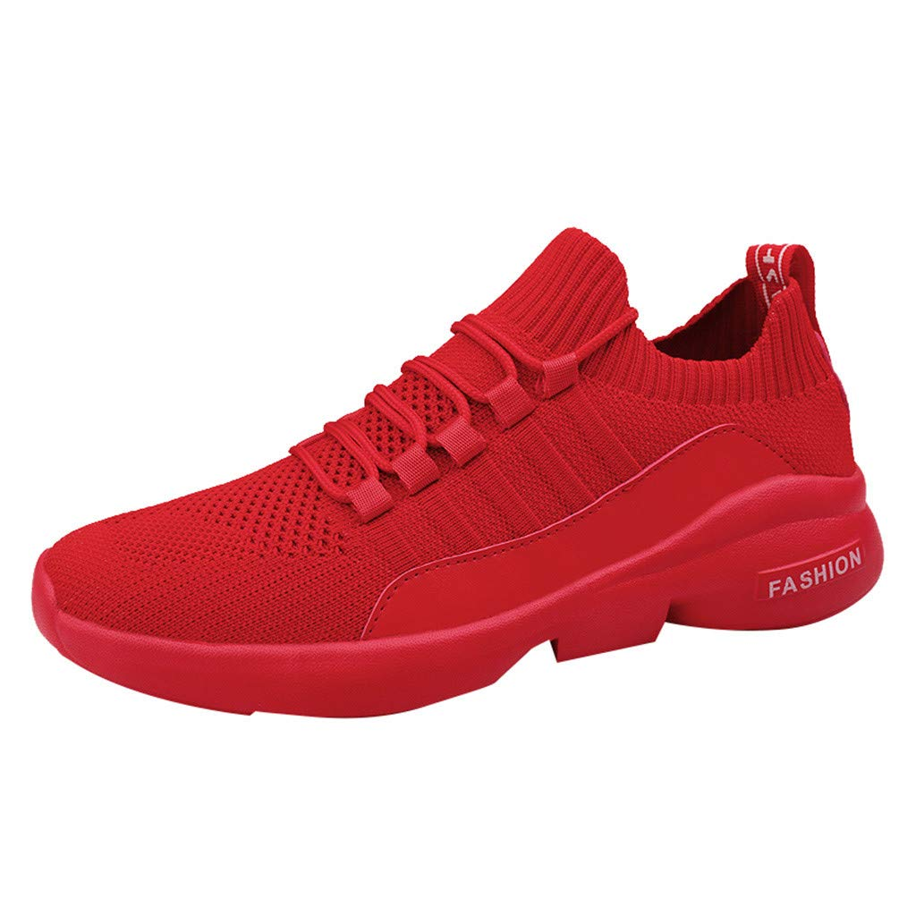 Kauneus Sock Shoes Sneakers Mens Lightweight Stretchy Outdoor Sport Shoes Boys Breathable Comfy Jogging Running Shoes Red by Kauneus Fashion Shoes