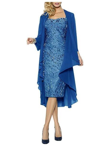 JAEDEN Mujer Corto Encaje con Chaqueta en Gasa Forma del corazón Vestido para la Madre Vestido
