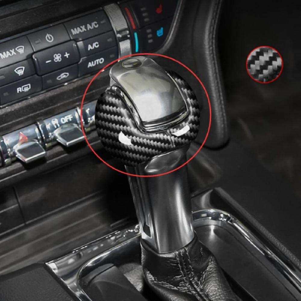 2pcs Left Drive Carbon Fiber Gear Shift Knob Cover MVMTVT Interior Dash Covers for Ford Mustang 2015-2019