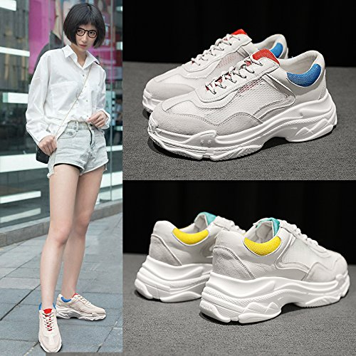Suave de nuevos Zapatos Salvajes Zapatos Femenino Casuales Moda Verano Hermana Zapatos Malla QQWWEERRTT Transpirable Amarillo Correr de verde Deportivos A8EnwKq6