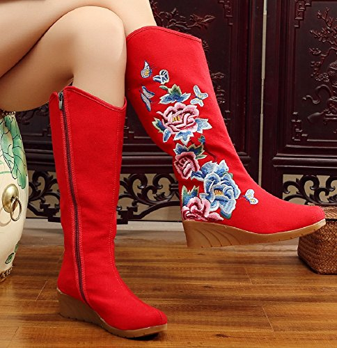Mary Janes Pour Crown Red Femme Tianrui 45wvPBxqn