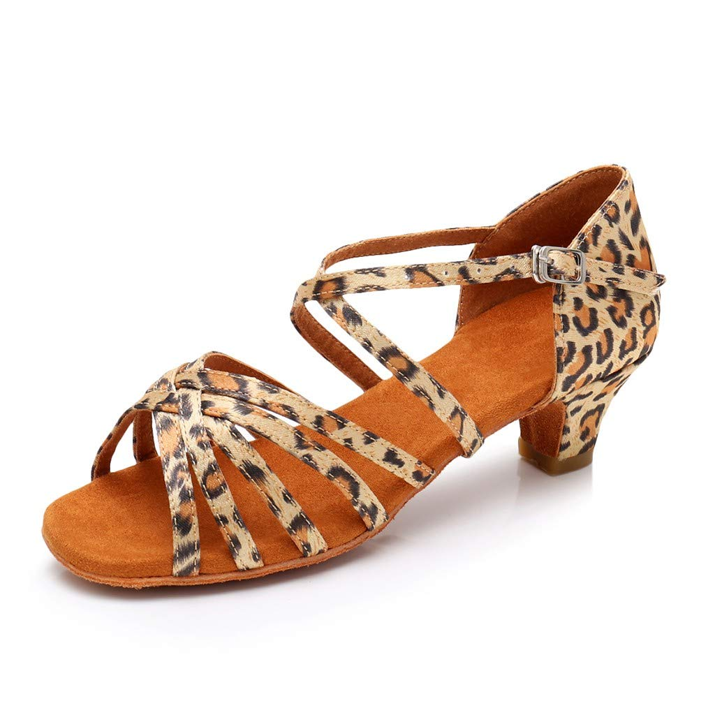 2019 Women Ballroom Tango Latin Shoes Princess Dancing Sandals Summer Peep Toe Square Heel Shoes Party Sandals (Yellow, 7)