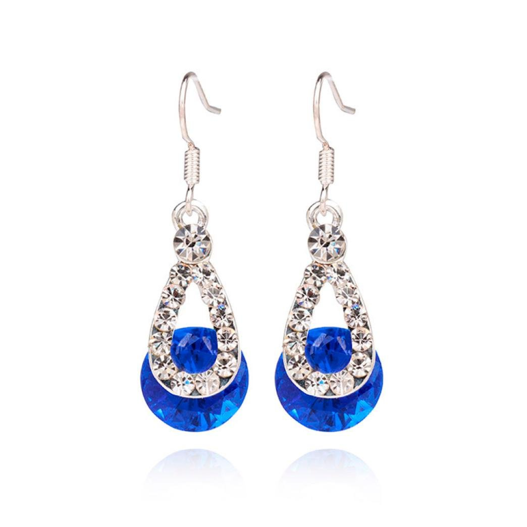 Clearance ! Yang-Yi 2018 Fashion Jewelry Big Crystal Pendant Fashion Long Paragraph Brilliant Drop Earrings (1.6, Blue)