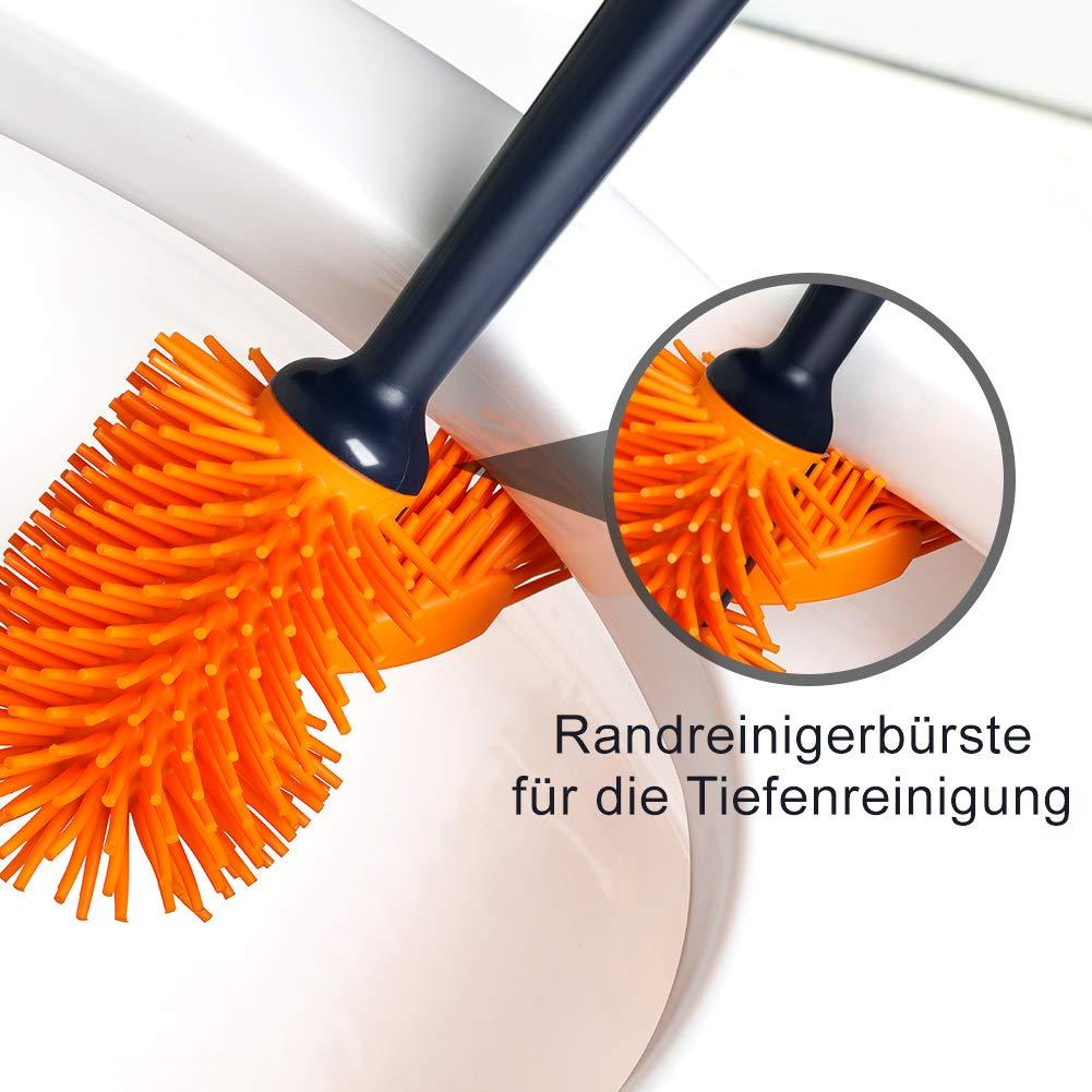 mit Randreiniger Modernes Design Bad Klob/ürste JOOMOON Wc B/ürste Silikon Toilettenb/ürste Dauerhaft Reinigen Leicht Dunkelblau