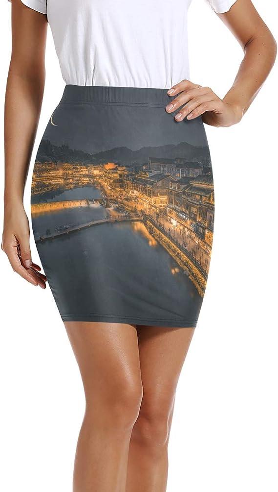 LUPINZ Mini Falda Ajustada elástica para Mujer, Vista Nocturna de ...