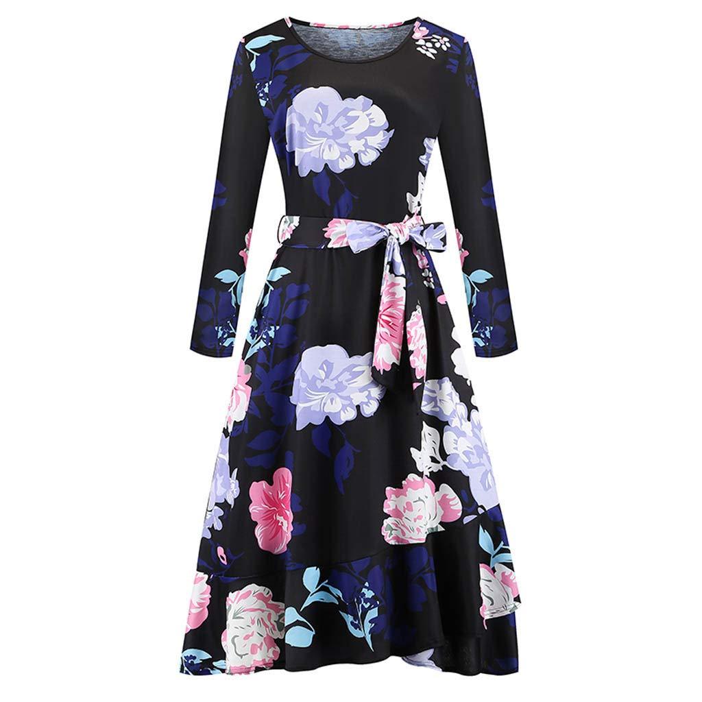 Willow S Women's Flower Print Belt Dress Casual Loose Round Neck Long Sleeve Stitching Hem Irregular Dress Maxi Dress Black by Willow S