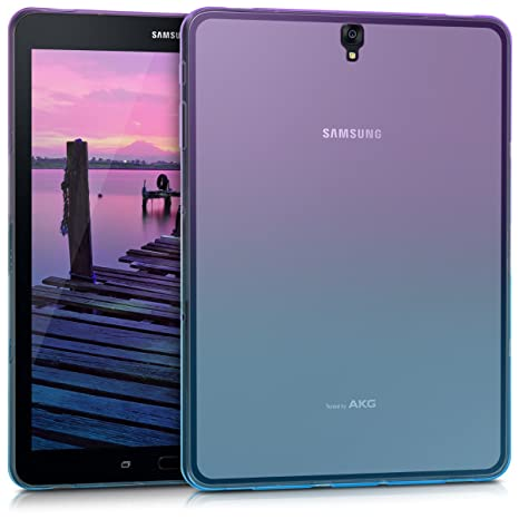kwmobile TPU Silicone Case for Samsung Galaxy Tab S3 9.7 T820 / T825 - Soft Flexible Shock Absorbent Protective Cover - Violet/Blue/Transparent