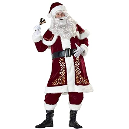 ShiyiUP Disfraces de Papá Noel para Navidad Traje de Cosplay para Hombre L