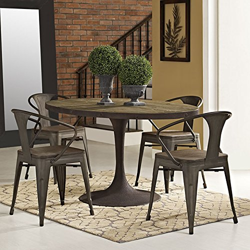 Modway Drive 60 Rustic Modern Farmhouse Pedestal Base Wood and Iron Oval Kitchen and Dining Room Table in Brown