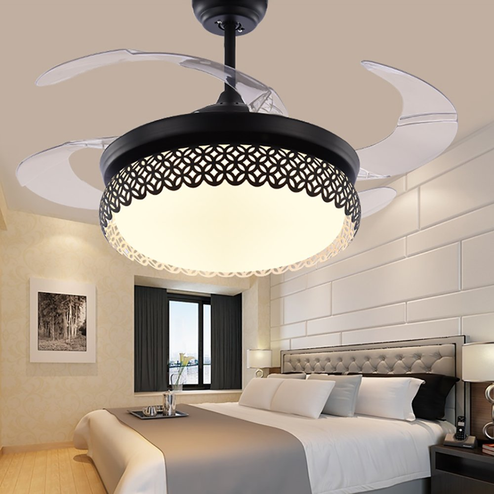 TiptonLight Modern Black Ceiling Fan Lamp LED 3 Changing Light 4 Retractable Blades with Remote Control for Indoor/Bedroom 42-Inch Mute Energy Saving Fan (Acrylic Blades)