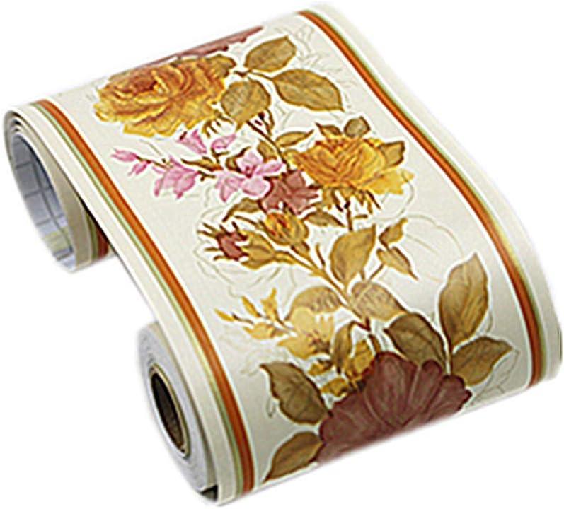 B3201 Yija PVC Self Adhesive Vintage Wallpaper Border Roll Wall Covering Border Bathrooms Kitchen Tiles Decor 4 inch X 29.5 feet
