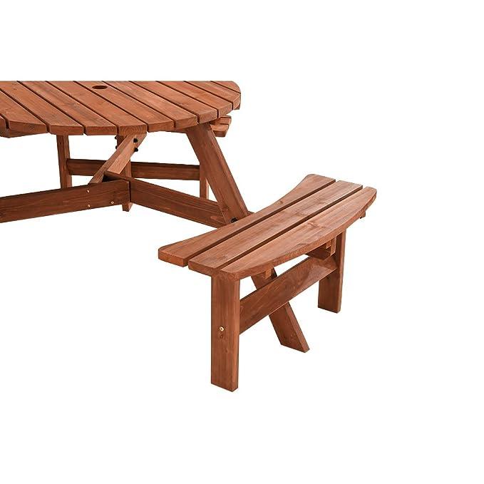 Jardin Keinode Table de Pique-Nique Ronde en Bois avec Banc ...