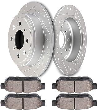 Rear Drill /& Slot Brake Rotors And Ceramic Pads For Integra Civivc CRX Prelude