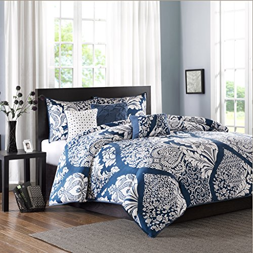 Madison Park Vienna Duvet Cover King/Cal King Size - Indigo Blue, Damask Duvet Cover Set - 6 Piece - Cotton Light Weight Bed Comforter Covers
