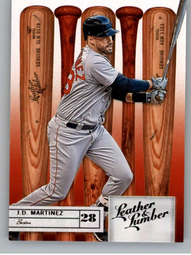 2019 Leather and Lumber Retail Baseball #89 J.D. Martinez Boston Red Sox Bat Official MLBPA Trading Card From Panini