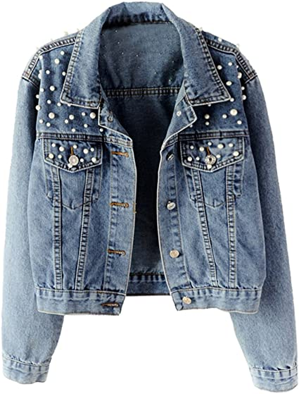 Embroidered Pearl Jean Jacket