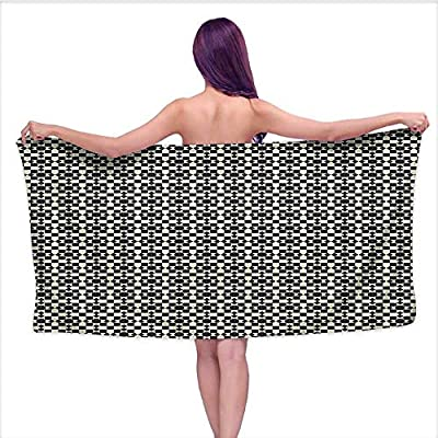 Beach Towel Towels? Pattern Traditi al Flower Dots Squar Black Light Yellow,Sports, Travels, Quick Drying and Super Absorbent Technology