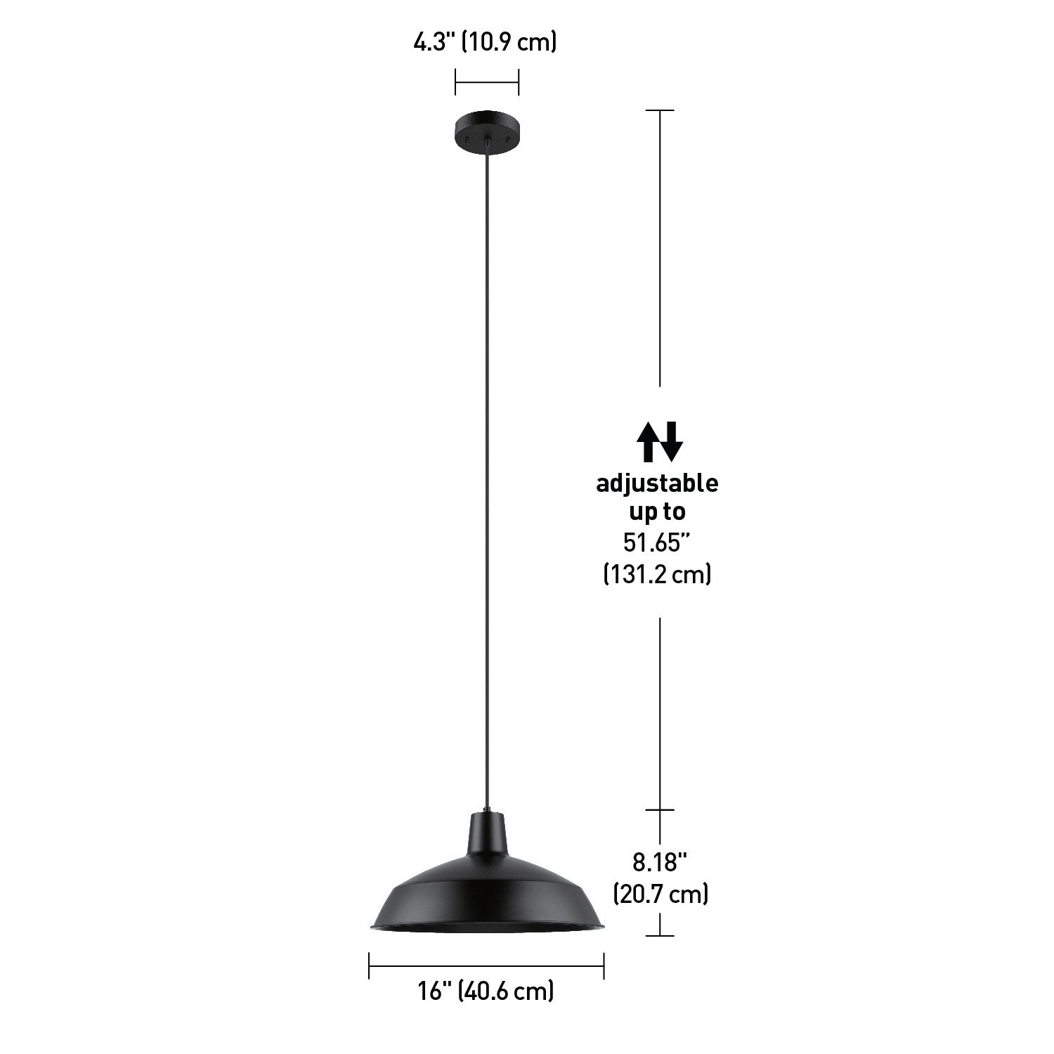 Globe Electric Barnyard 1-Light 16'' Industrial Warehouse Pendant, Matte Black Finish, 65155 by Globe Electric (Image #6)