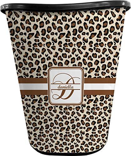 RNK Shops Leopard Print Waste Basket - Single Sided (Black) (Personalized)