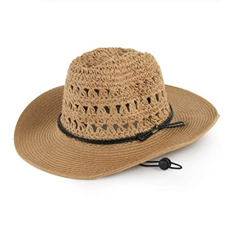 f97b8c62e23 FH Summer Men s Sun Hat Mesh Breathable Foldable Western Cowboy Hat Outdoor  Sunshade Female Beach Straw Hat (Color   Beige)  Amazon.co.uk  Kitchen    Home