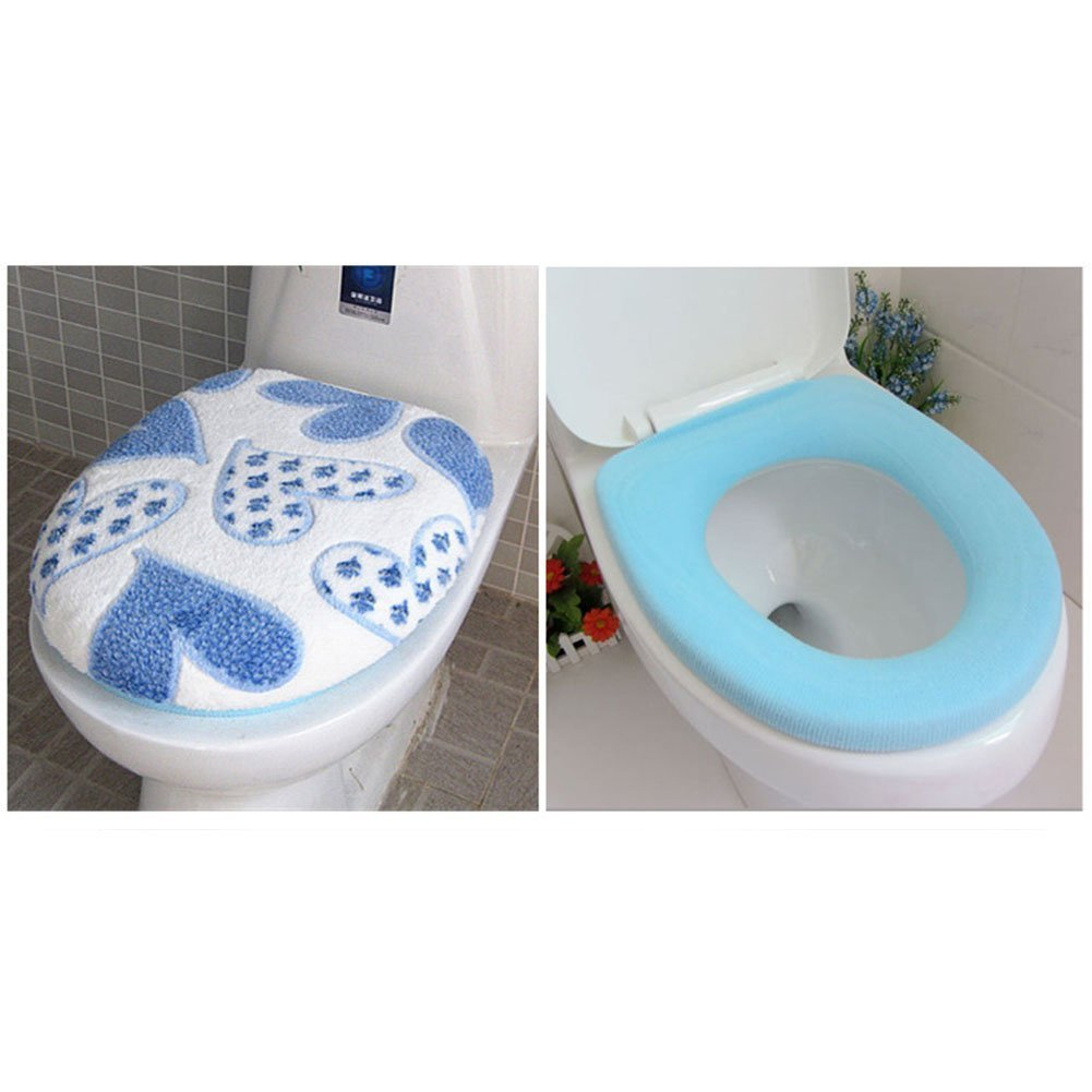 blue homeyusa Soft Toilet Lid /& Seat Covers Warmer Pads Set Toilet Seat Cover Set Bathroom Set