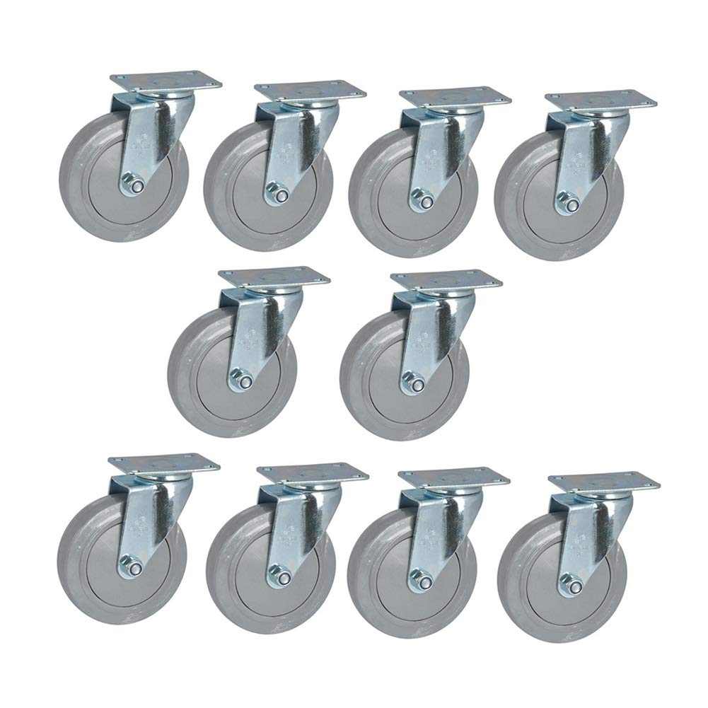 MUMA Casters Gray Medium Plastic Core PP+TPR Flat Top Universal Furniture Industry Wheel 5 Inch 10 Pack (Size : 5 inch)