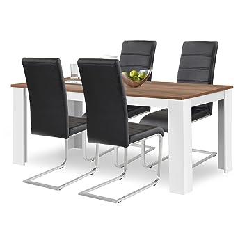 1 x Esstisch Toledo Nussbaum 120 x 80 Stuhlset agionda/® Esstisch 4 Freischwinger braun hochwertiges PU Kunstleder